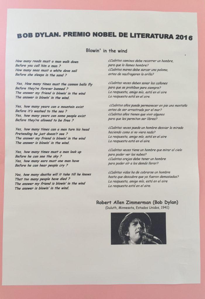 Letra de la canción trabajada desde el grupo de biblioteca
